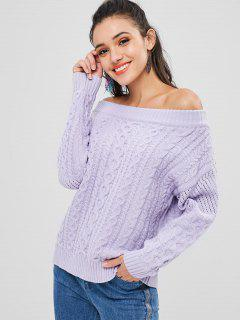 Off Shoulder Cable Knit Sweater - Mauve