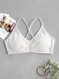 Lattice Padded Strappy Bralette - Silk White