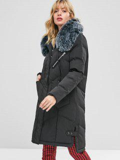 Faux Fur Hood Padded Parka Coat - Black L