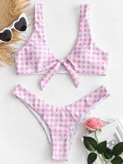Knotted High Leg Plaid Bikini Set - Pink M
