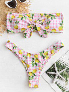 Lemon Plaid Bandeau Bikini Set - Pink S