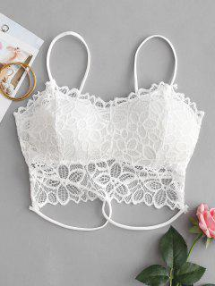 Floral Lace Padded Strappy Bralette - White