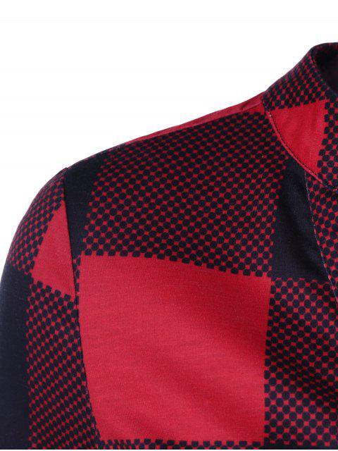 fancy Split Neck Long Plaid Boyfriend T-Shirt - RED WITH BLACK L Mobile