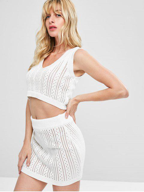 buy Eyelet Knitted Skirt Set - WHITE L Mobile