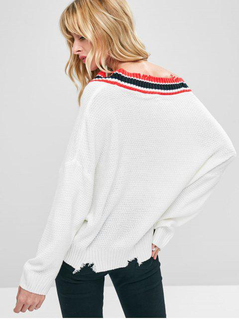 womens Stripe Trim Plunge Ripped Sweater - WHITE ONE SIZE Mobile