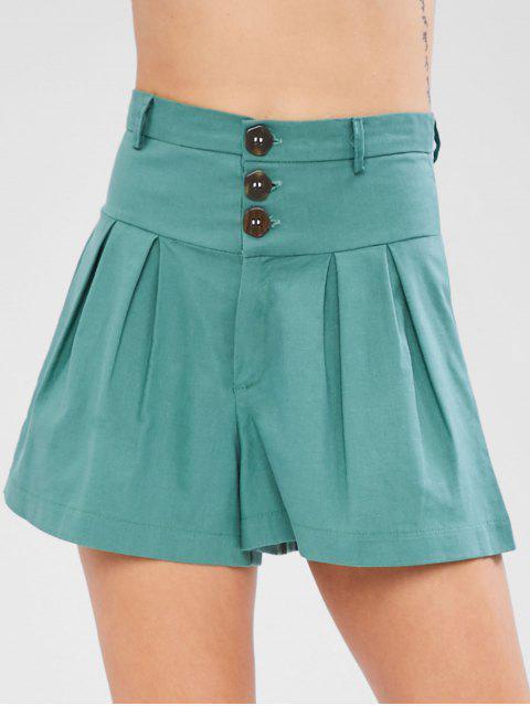 Pantalones cortos de talle alto con pliegues delanteros - Verde de Mar Ligero M Mobile