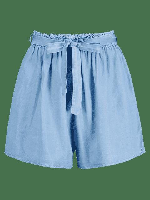 Short en Tissu Rayé à Taille Haute - Bleu Toile de Jean L Mobile