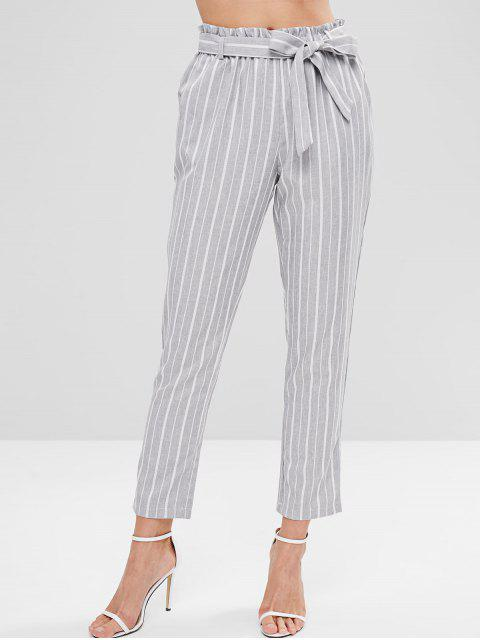 chic Striped Pants with Belt - MULTI L Mobile