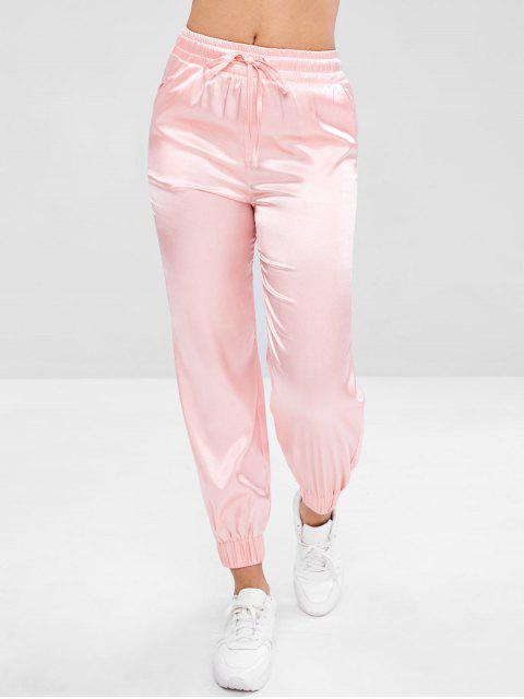 best Satin Drawstring Athletic Jogger Pants - PINK S Mobile