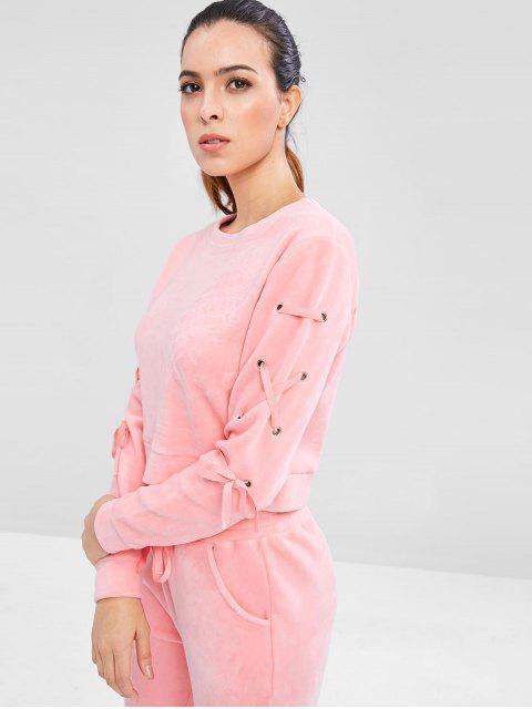 chic Velvet Lace Up Sweatshirt - PINK L Mobile