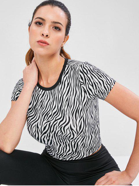 trendy Zebra Print Crop Workout Tee - MULTI S Mobile