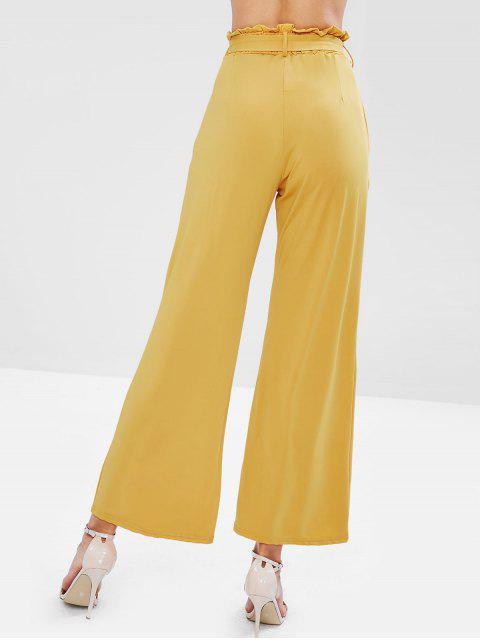Pantalones de pierna ancha con cinturón - Mostaza XL Mobile