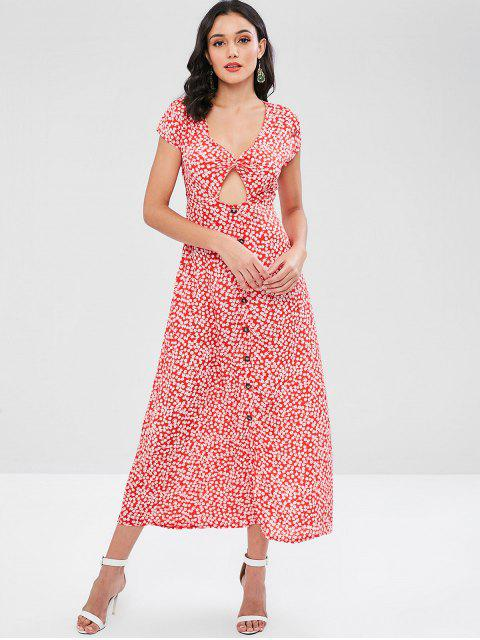 online Twist Front Cut Out Floral Print Maxi Dress - RED S Mobile