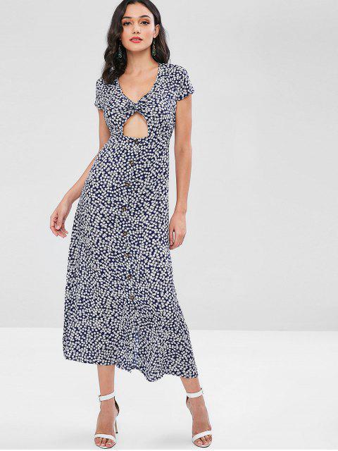 Maxi Robe Florale Imprimée Découpée Tordue en Avant - Bleu profond S Mobile