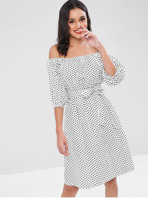 Polka Punkt Schulterfreies Kleid - Weiß Eine Größe Mobile