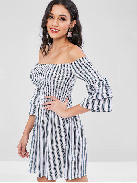 Streifen Shirred Schulterfreies Kleid - Multi Eine Größe Mobile