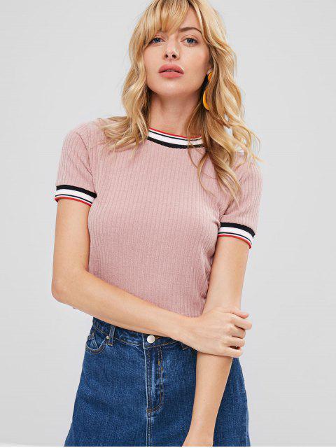 Gestreiftes Trim Strick T-Shirt - Rosa XL  Mobile
