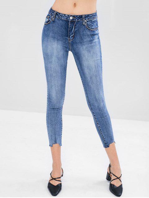 buy Fading Skinny Ankle Jeans - BLUE L Mobile