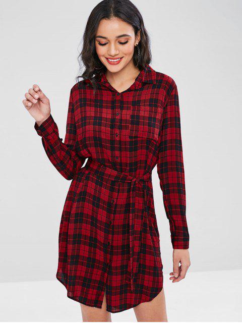 Robe chemise à manches longues à carreaux - Rouge M Mobile