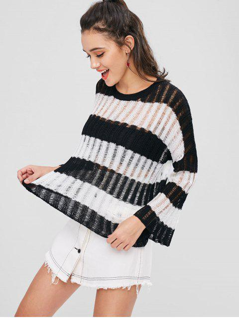 lady Striped Drop Shoulder Openwork Sweater - BLACK ONE SIZE Mobile