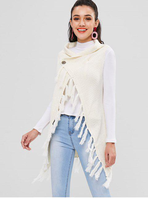 Cárdigan largo sin mangas con borlas - Blanco Cálido Única Talla Mobile