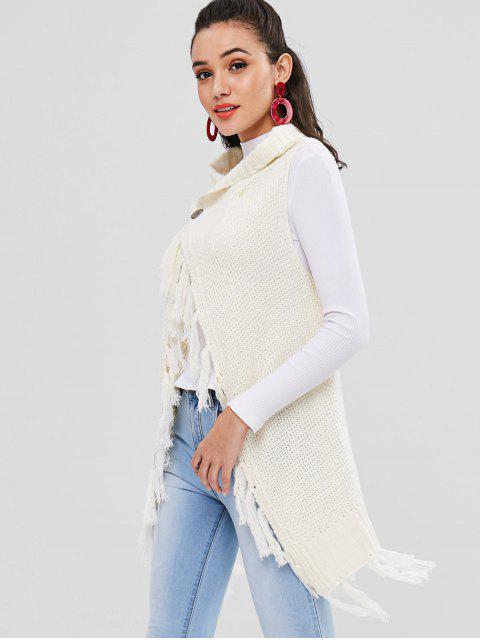 ノースリーブタッセルロングラインカーディガン - 暖かい白 ワンサイズ Mobile
