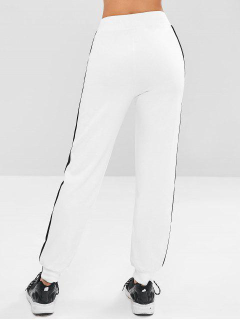 affordable Contrast Lace-up Athletic Jogger Pants - WHITE L Mobile