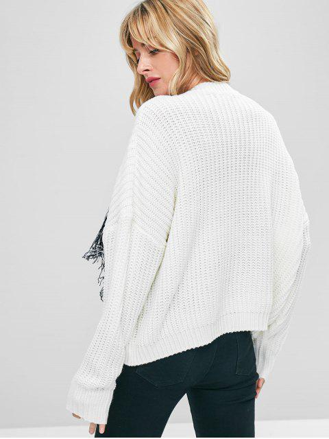 outfit Drop Shoulder Fringed Sweater - WHITE ONE SIZE Mobile