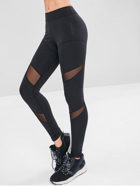 Malla con cremallera y bolsillo en el gimnasio - Negro M Mobile