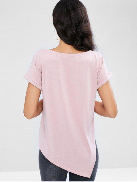 hot Asymmetrical Faux Pearl Beads Tee - PINK L Mobile