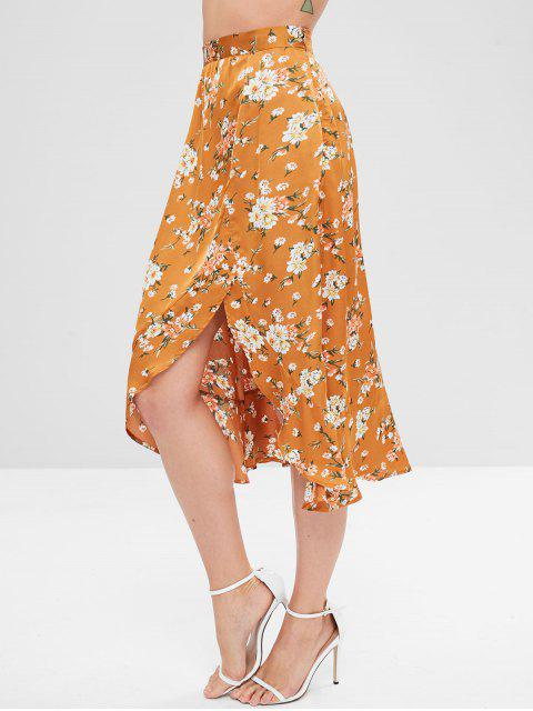 shops Floral Ruffles Asymmetrical Skirt - CARAMEL L Mobile