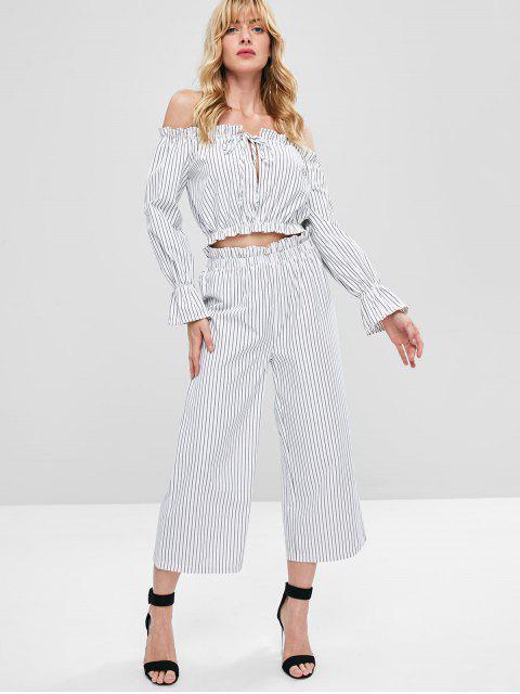 women Stripes Off Shoulder Pants Set - WHITE L Mobile