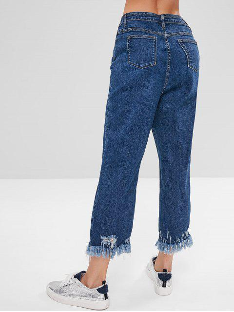 Indigo Wash Frayed Mom Jeans - Azul M Mobile