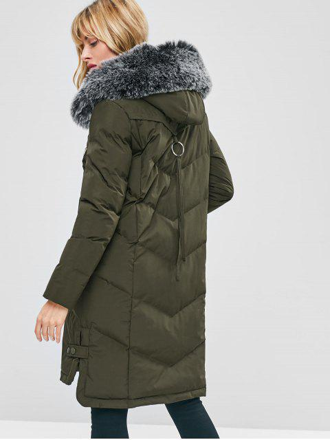 trendy Faux Fur Hood Padded Parka Coat - ARMY GREEN XL Mobile