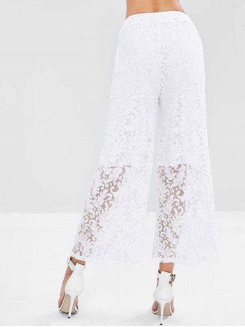 trendy Wide Leg Lace Palazzo Pants - WHITE L Mobile