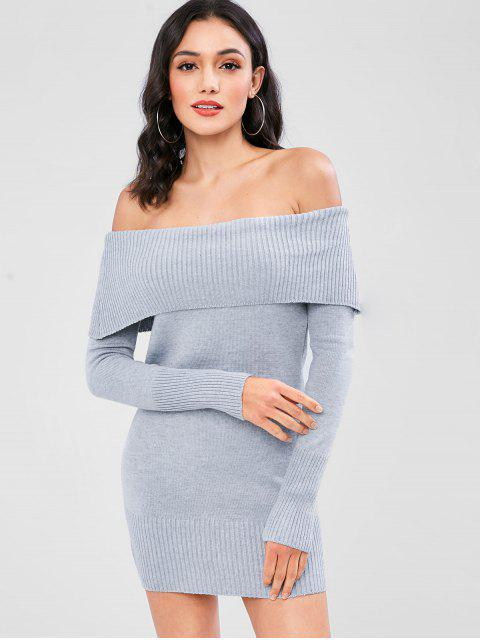 buy Off The Shoulder Overlay Sweater Dress - LIGHT GRAY ONE SIZE Mobile