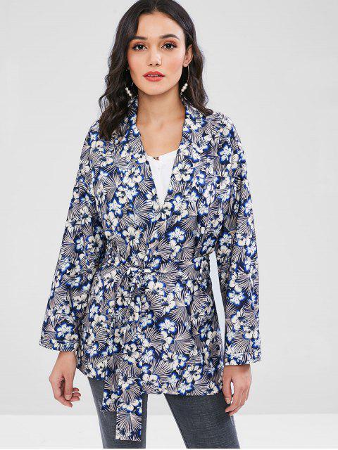 Blazer floral Kimono de la correa de corbata - Multicolor L Mobile