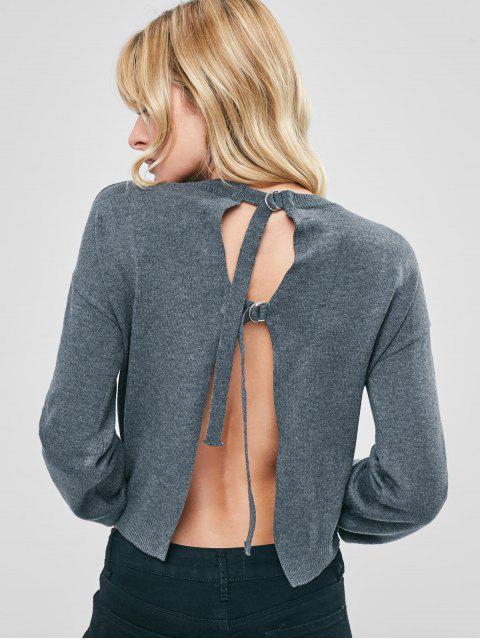 Schnallen Offener Rücken Pullover - Grau M Mobile