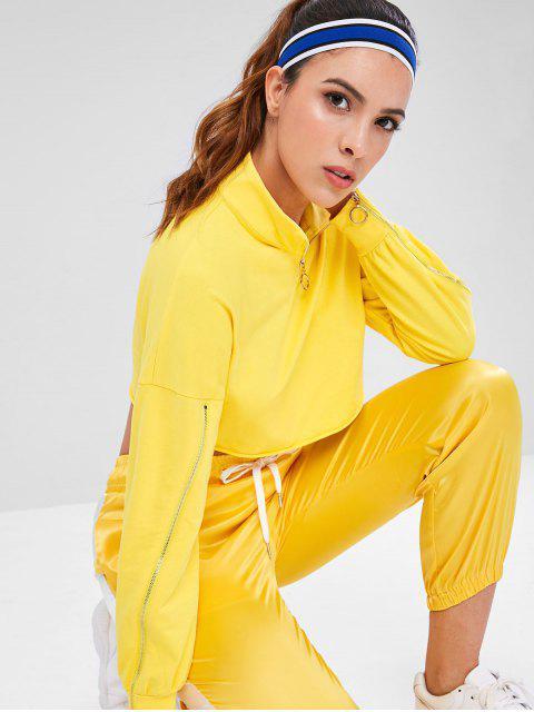 Reißverschluss Rundhals Crop Sport Sweatshirt - Gelb M Mobile