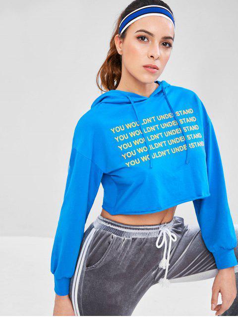 Sweat-shirt à Capuche Nombril Exposé Lettre Imprimée à Ourlet Brut - Bleu M Mobile