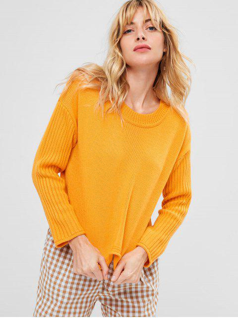 best Ribbed Sleeve Drop Shoulder Sweater - SCHOOL BUS YELLOW S Mobile