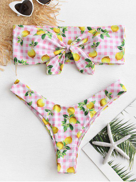 Bikini bandeau a cuadros de limón - Rosado M Mobile