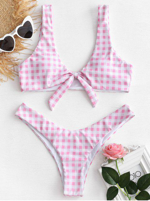 fancy Knotted High Leg Plaid Bikini Set - PINK S Mobile