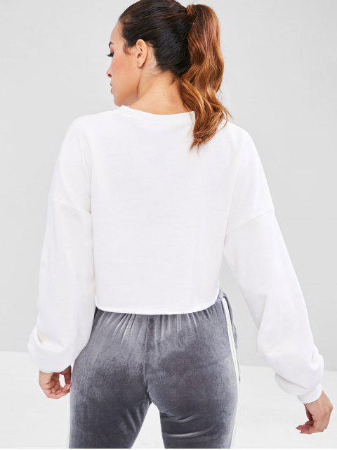 ZAFUL - Raw Hem - Crop - Sweatshirt mit offener Brust - Weiß S Mobile