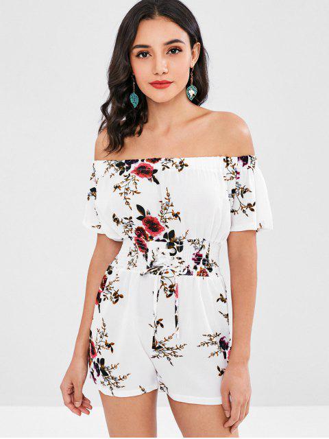 affordable Shirred Floral Off The Shoulder Romper - WHITE ONE SIZE Mobile