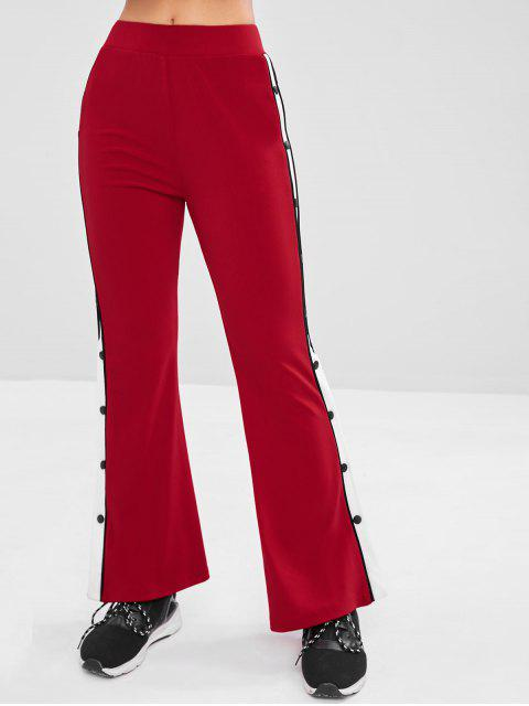 ladies Contrast Side Flare Yoga Gym Pants - RED WINE M Mobile