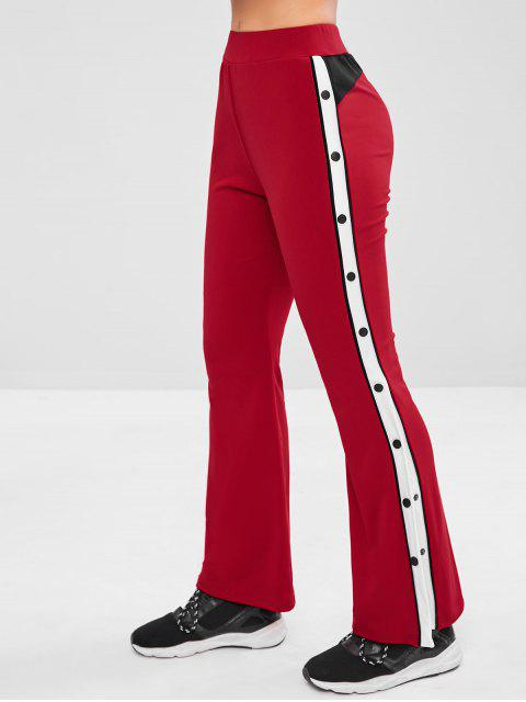lady Contrast Side Flare Yoga Gym Pants - RED WINE L Mobile