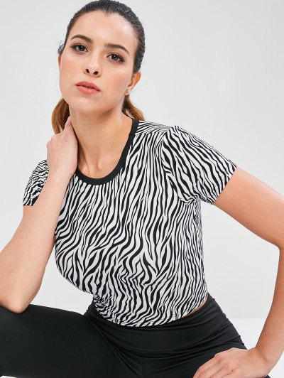 Zebra Print Crop Workout Tee - Multi S