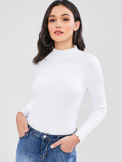 Ribbed Scalloped Sweater - White 2e6102be7