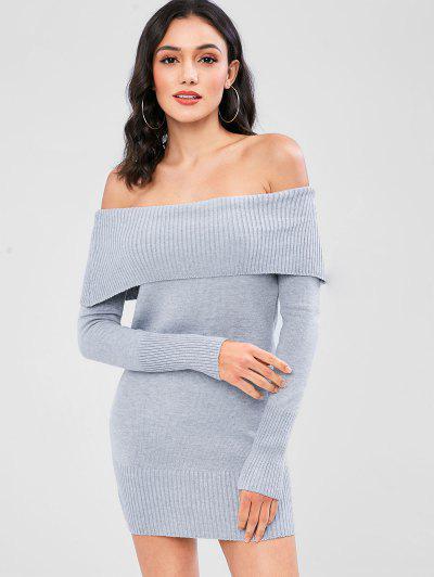 b5109c1322348b 31%OFF Off The Shoulder Overlay Sweater Dress - Light Gray
